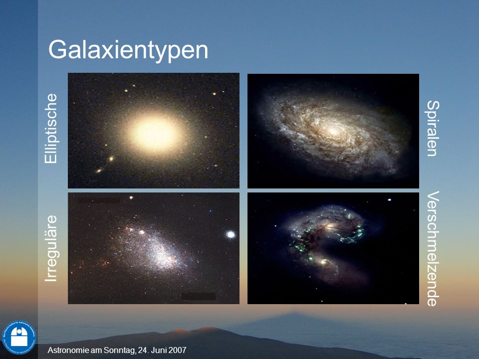 Astronomie am Sonntag, 24. Juni 2007 Elliptische Irreguläre Spiralen Verschmelzende Galaxientypen