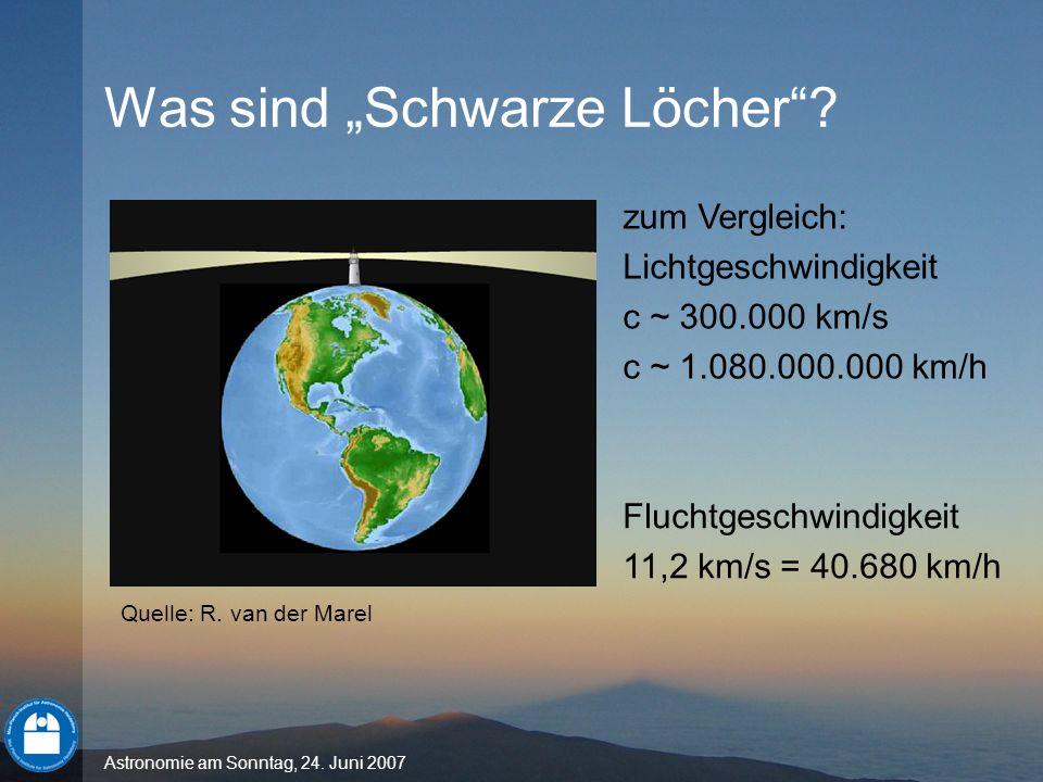 Astronomie am Sonntag, 24. Juni 2007 Was sind Schwarze Löcher? zum Vergleich: Lichtgeschwindigkeit c ~ 300.000 km/s c ~ 1.080.000.000 km/h Fluchtgesch