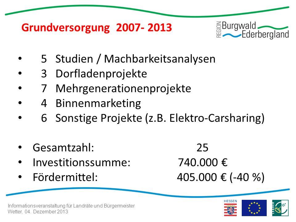 Informationsveranstaltung für Landräte und Bürgermeister Wetter, 04. Dezember 2013 Grundversorgung 2007- 2013 5 Studien / Machbarkeitsanalysen 3 Dorfl