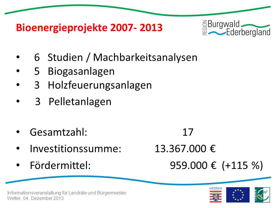 Informationsveranstaltung für Landräte und Bürgermeister Wetter, 04. Dezember 2013 Bioenergieprojekte 2007- 2013 6 Studien / Machbarkeitsanalysen 5 Bi