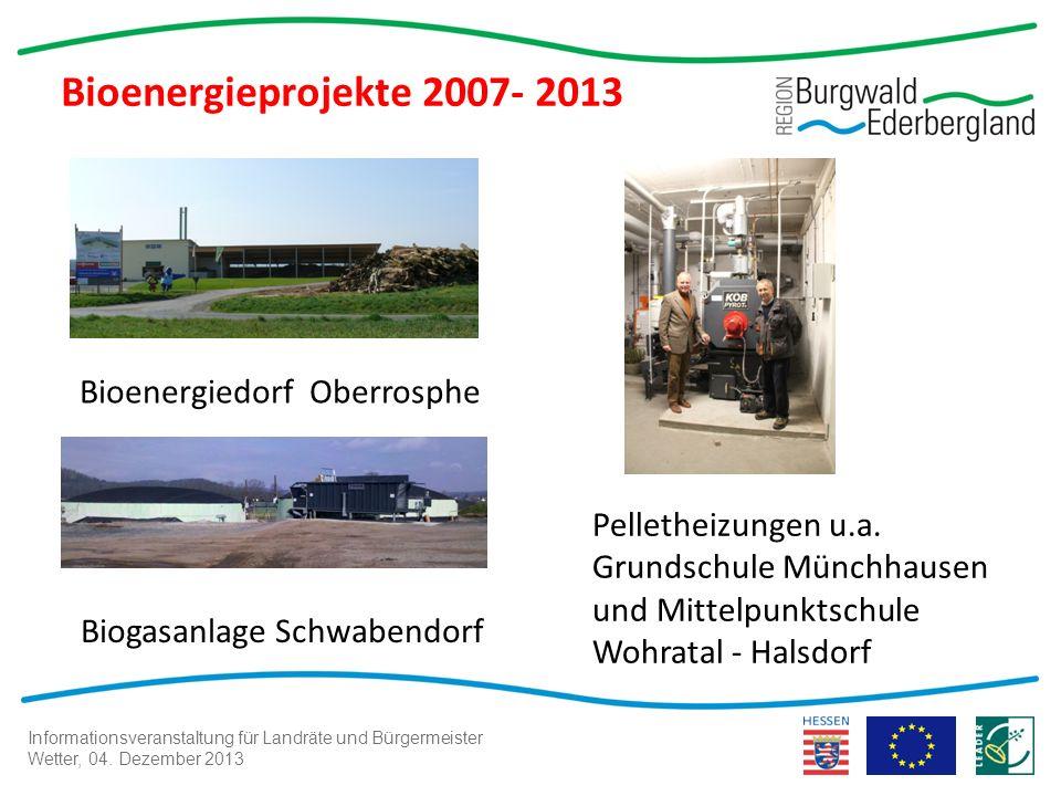 Informationsveranstaltung für Landräte und Bürgermeister Wetter, 04. Dezember 2013 Bioenergieprojekte 2007- 2013 Pelletheizungen u.a. Grundschule Münc