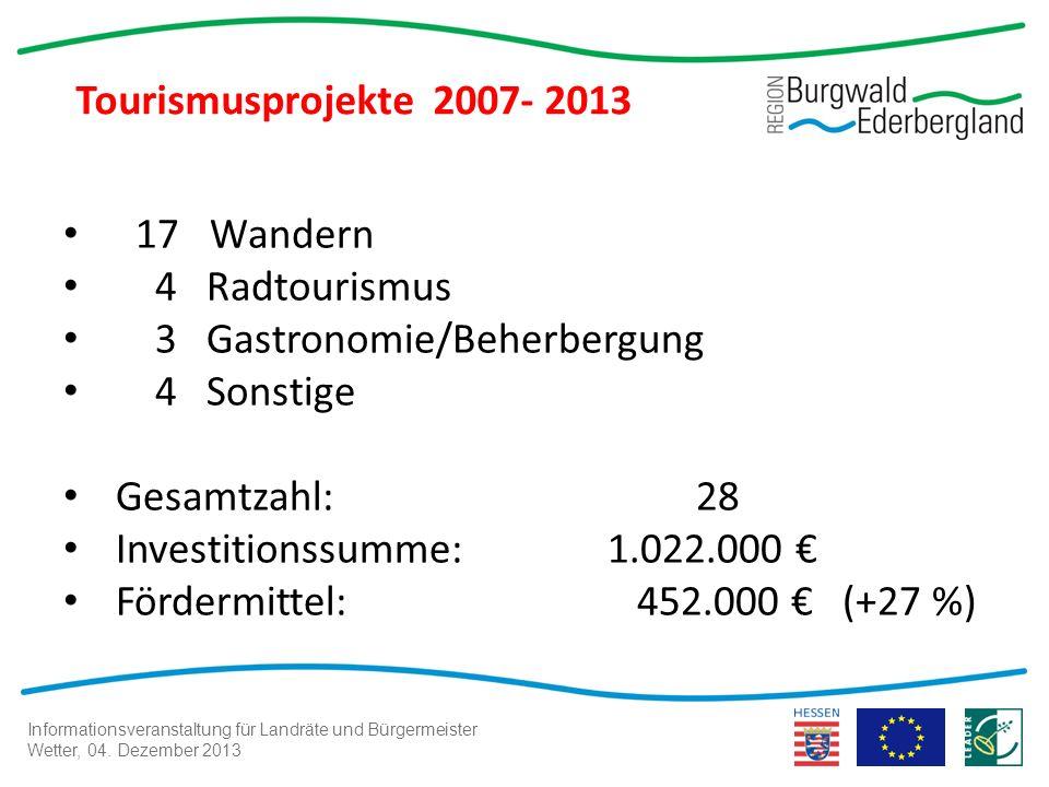 Informationsveranstaltung für Landräte und Bürgermeister Wetter, 04. Dezember 2013 Tourismusprojekte 2007- 2013 17 Wandern 4 Radtourismus 3 Gastronomi