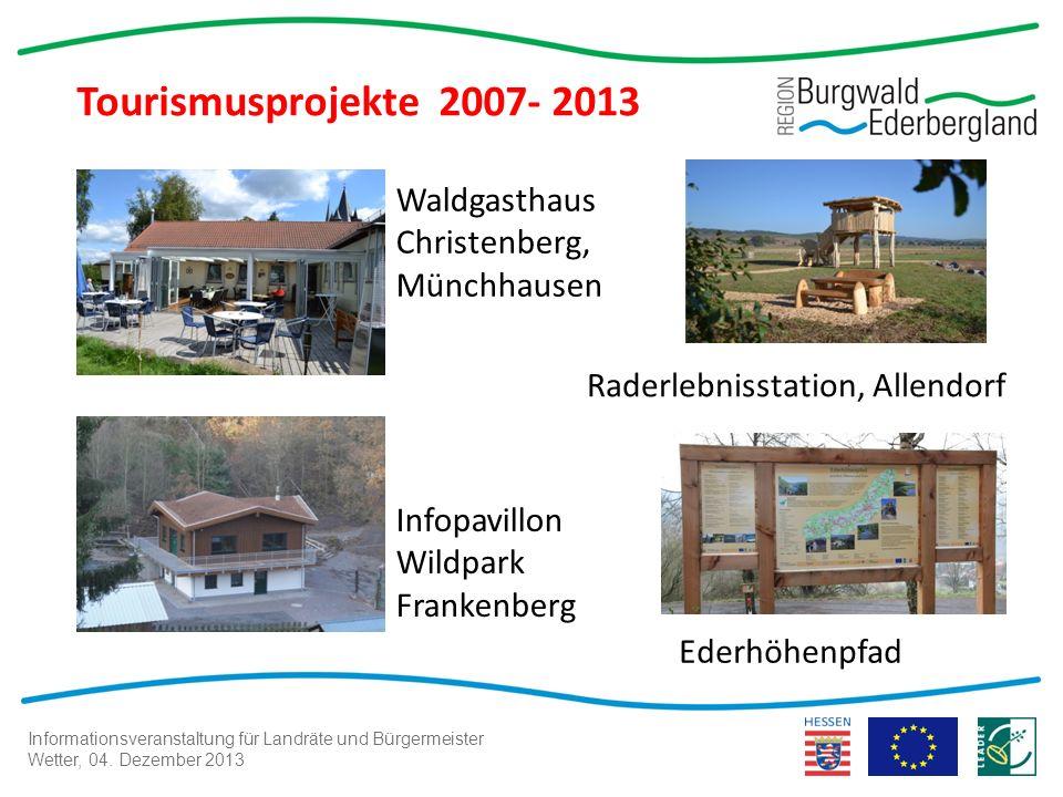 Informationsveranstaltung für Landräte und Bürgermeister Wetter, 04. Dezember 2013 Tourismusprojekte 2007- 2013 Waldgasthaus Christenberg, Münchhausen