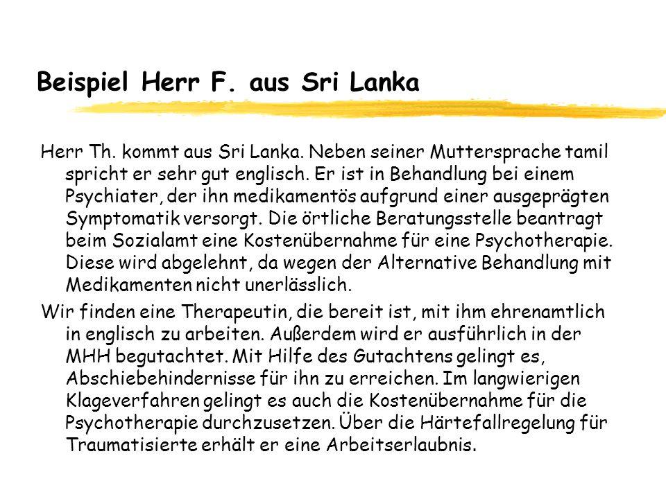 Beispiel Herr F. aus Sri Lanka Herr Th. kommt aus Sri Lanka. Neben seiner Muttersprache tamil spricht er sehr gut englisch. Er ist in Behandlung bei e