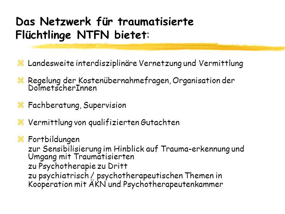 Das Netzwerk für traumatisierte Flüchtlinge NTFN bietet: zLandesweite interdisziplinäre Vernetzung und Vermittlung zRegelung der Kostenübernahmefragen, Organisation der DolmetscherInnen zFachberatung, Supervision zVermittlung von qualifizierten Gutachten zFortbildungen zur Sensibilisierung im Hinblick auf Trauma-erkennung und Umgang mit Traumatisierten zu Psychotherapie zu Dritt zu psychiatrisch / psychotherapeutischen Themen in Kooperation mit ÄKN und Psychotherapeutenkammer