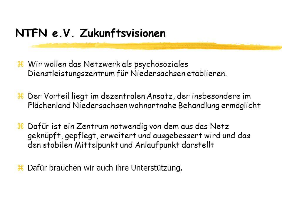 NTFN e.V. Zukunftsvisionen zWir wollen das Netzwerk als psychosoziales Dienstleistungszentrum für Niedersachsen etablieren. zDer Vorteil liegt im deze