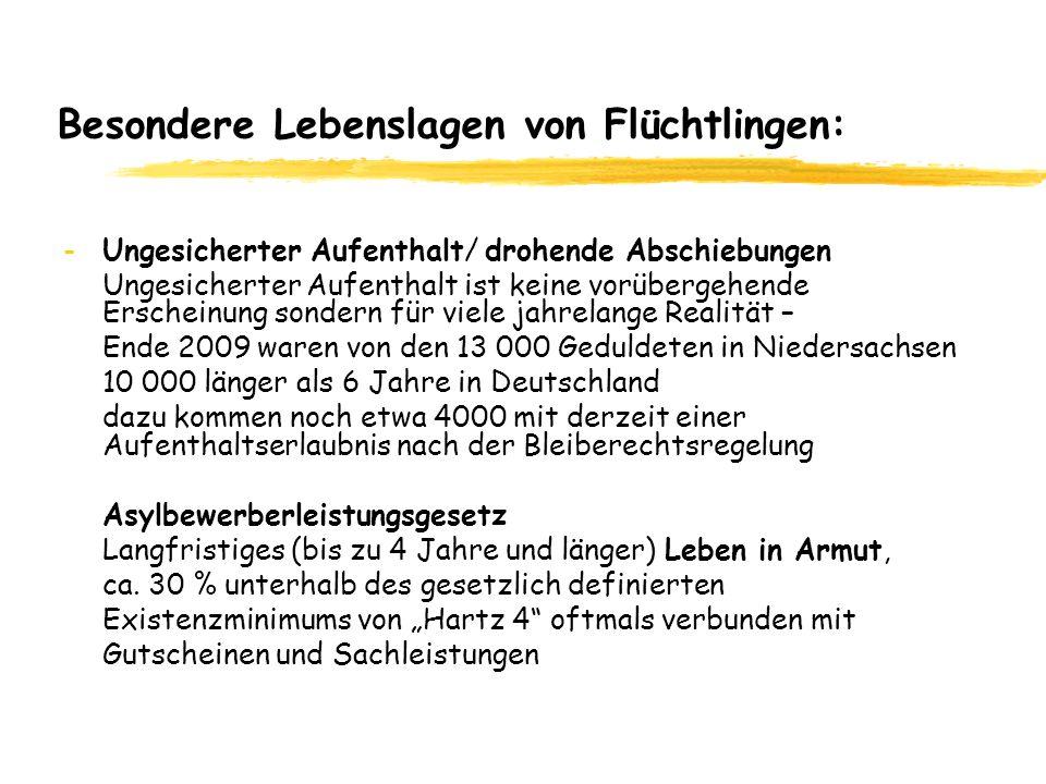 Besondere Lebenslagen von Flüchtlingen: -Ungesicherter Aufenthalt/ drohende Abschiebungen Ungesicherter Aufenthalt ist keine vorübergehende Erscheinung sondern für viele jahrelange Realität – Ende 2009 waren von den 13 000 Geduldeten in Niedersachsen 10 000 länger als 6 Jahre in Deutschland dazu kommen noch etwa 4000 mit derzeit einer Aufenthaltserlaubnis nach der Bleiberechtsregelung Asylbewerberleistungsgesetz Langfristiges (bis zu 4 Jahre und länger) Leben in Armut, ca.