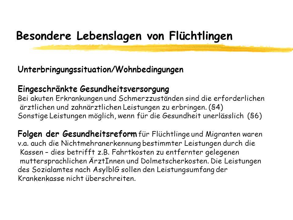 Besondere Lebenslagen von Flüchtlingen Unterbringungssituation/Wohnbedingungen Eingeschränkte Gesundheitsversorgung Bei akuten Erkrankungen und Schmer