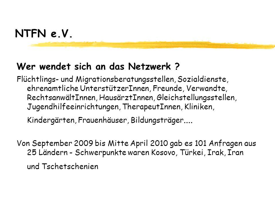 NTFN e.V. Wer wendet sich an das Netzwerk ? Flüchtlings- und Migrationsberatungsstellen, Sozialdienste, ehrenamtliche UnterstützerInnen, Freunde, Verw