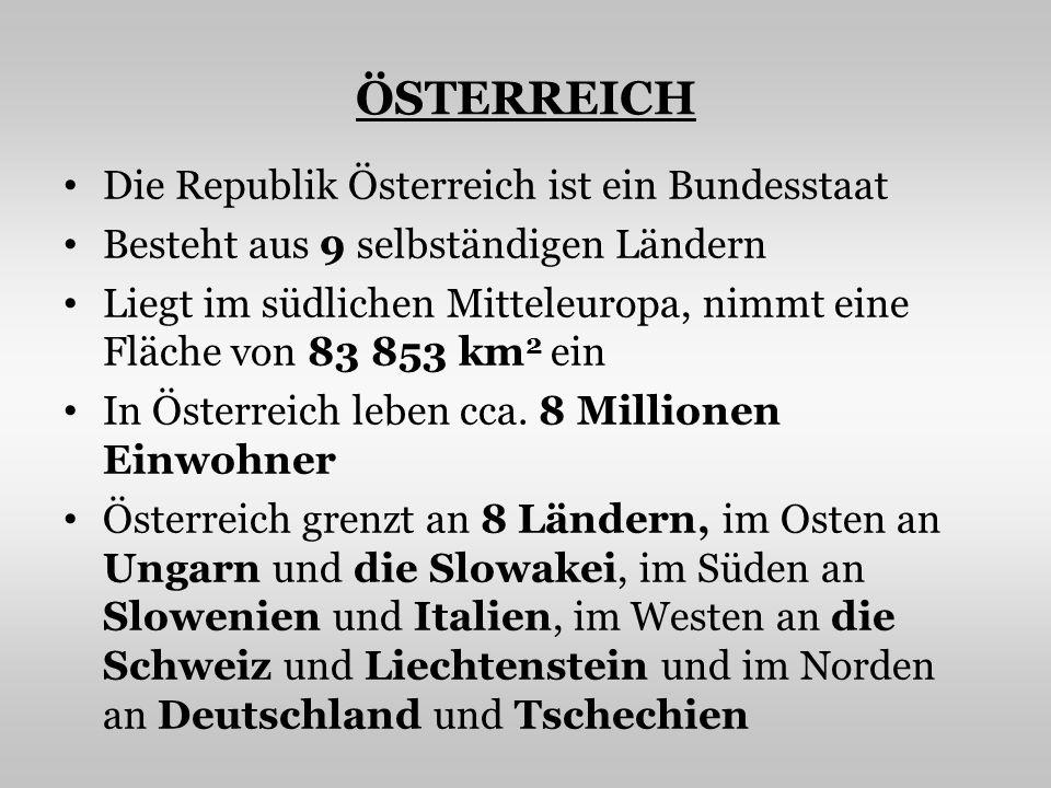 ÖSTERREICH Die Republik Österreich ist ein Bundesstaat Besteht aus 9 selbständigen Ländern Liegt im südlichen Mitteleuropa, nimmt eine Fläche von 83 8