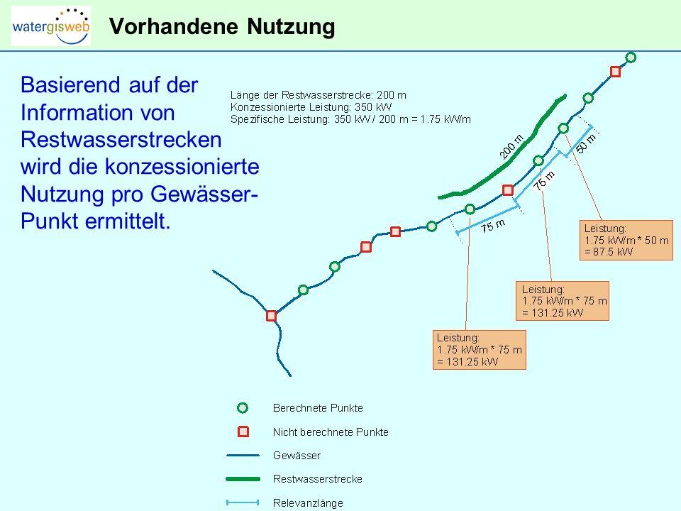 Vorhandene Nutzung Basierend auf der Information von Restwasserstrecken wird die konzessionierte Nutzung pro Gewässer- Punkt ermittelt.