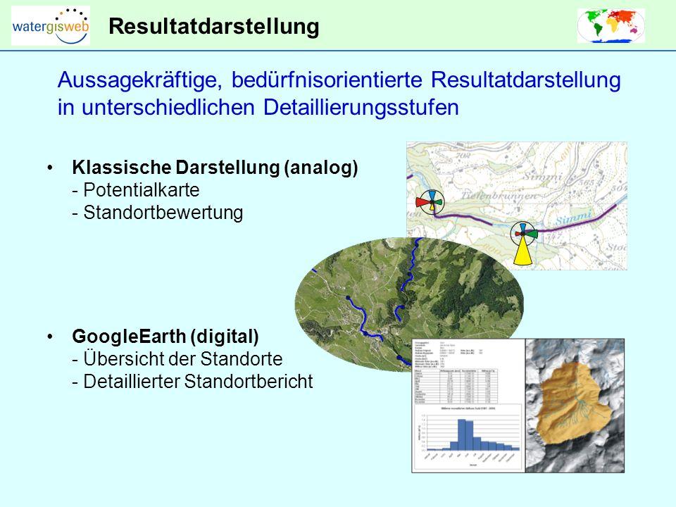 Resultatdarstellung Klassische Darstellung (analog) - Potentialkarte - Standortbewertung Aussagekräftige, bedürfnisorientierte Resultatdarstellung in unterschiedlichen Detaillierungsstufen GoogleEarth (digital) - Übersicht der Standorte - Detaillierter Standortbericht