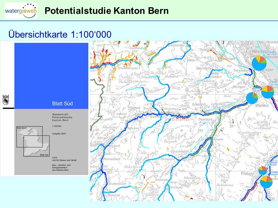 Potentialstudie Kanton Bern Übersichtkarte 1:100000