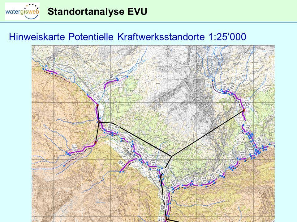 Standortanalyse EVU Hinweiskarte Potentielle Kraftwerksstandorte 1:25000