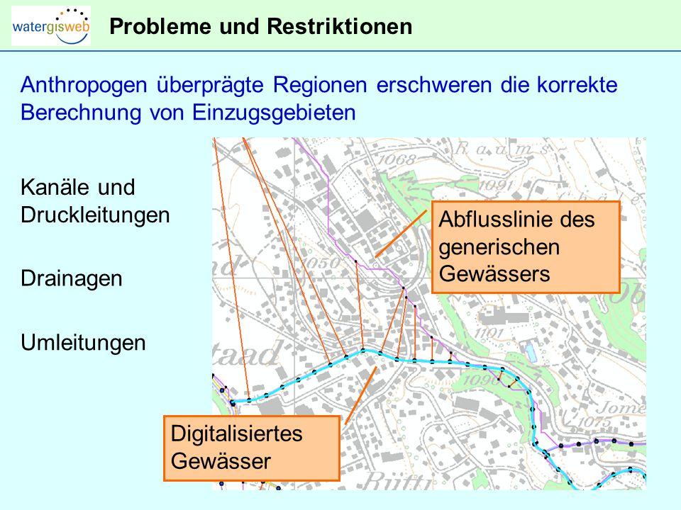 Probleme und Restriktionen Digitalisiertes Gewässer Abflusslinie des generischen Gewässers Anthropogen überprägte Regionen erschweren die korrekte Berechnung von Einzugsgebieten Kanäle und Druckleitungen Drainagen Umleitungen