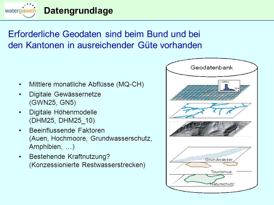 Datengrundlage Mittlere monatliche Abflüsse (MQ-CH) Digitale Gewässernetze (GWN25, GN5) Digitale Höhenmodelle (DHM25, DHM25_10) Beeinflussende Faktoren (Auen, Hochmoore, Grundwasserschutz, Amphibien, …) Bestehende Kraftnutzung.