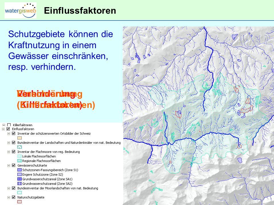 Bestehende Kraftnutzung Gewässerabschnitte mit bestehenden Wasserkraft- konzessionen können nicht mehrfach genutzt werden.