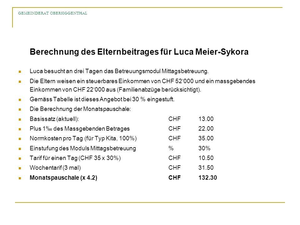 GEMEINDERAT OBERSIGGENTHAL Berechnung des Elternbeitrages für Luca Meier-Sykora Luca besucht an drei Tagen das Betreuungsmodul Mittagsbetreuung. Die E