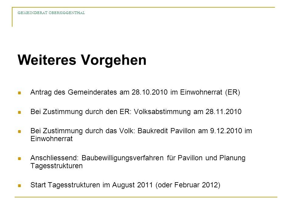 GEMEINDERAT OBERSIGGENTHAL Weiteres Vorgehen Antrag des Gemeinderates am 28.10.2010 im Einwohnerrat (ER) Bei Zustimmung durch den ER: Volksabstimmung