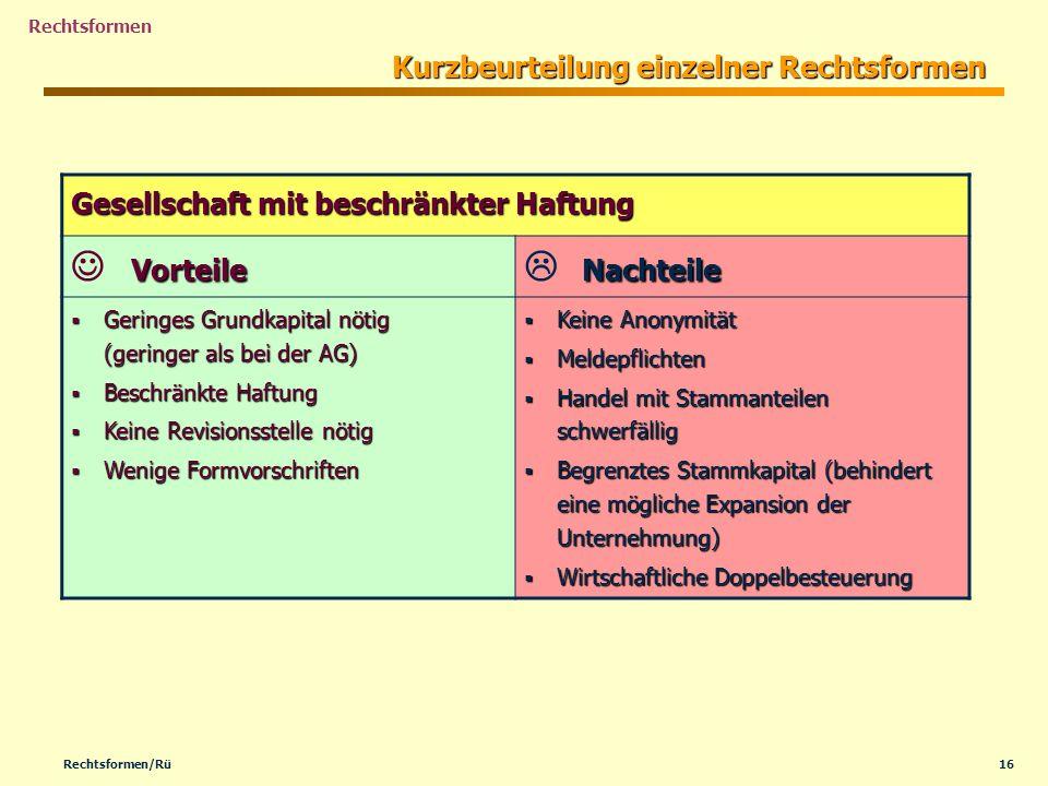 16Rechtsformen/Rü Rechtsformen Kurzbeurteilung einzelner Rechtsformen Gesellschaft mit beschränkter Haftung Vorteile Nachteile Geringes Grundkapital n