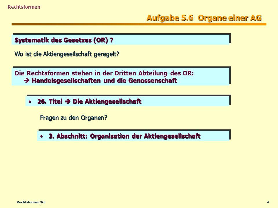 4Rechtsformen/Rü Rechtsformen Aufgabe 5.6 Organe einer AG Handelsgesellschaften und die Genossenschaft Die Rechtsformen stehen in der Dritten Abteilun