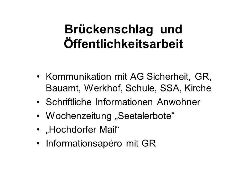 Brückenschlag und Öffentlichkeitsarbeit Kommunikation mit AG Sicherheit, GR, Bauamt, Werkhof, Schule, SSA, Kirche Schriftliche Informationen Anwohner