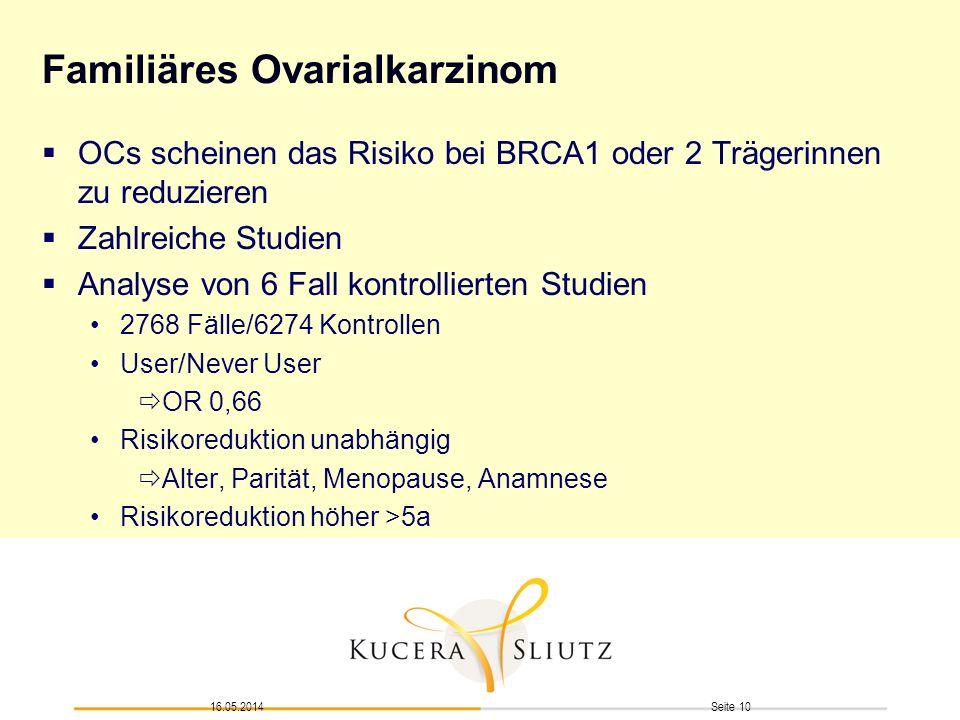 Seite 1016.05.2014 Familiäres Ovarialkarzinom OCs scheinen das Risiko bei BRCA1 oder 2 Trägerinnen zu reduzieren Zahlreiche Studien Analyse von 6 Fall