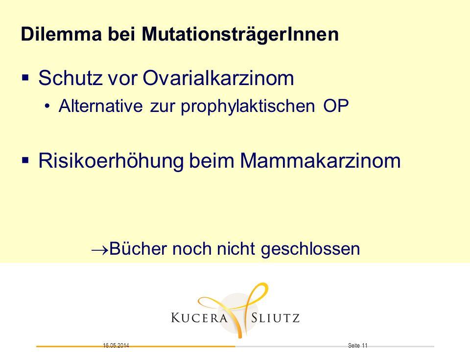 Seite 1116.05.2014 Dilemma bei MutationsträgerInnen Schutz vor Ovarialkarzinom Alternative zur prophylaktischen OP Risikoerhöhung beim Mammakarzinom B