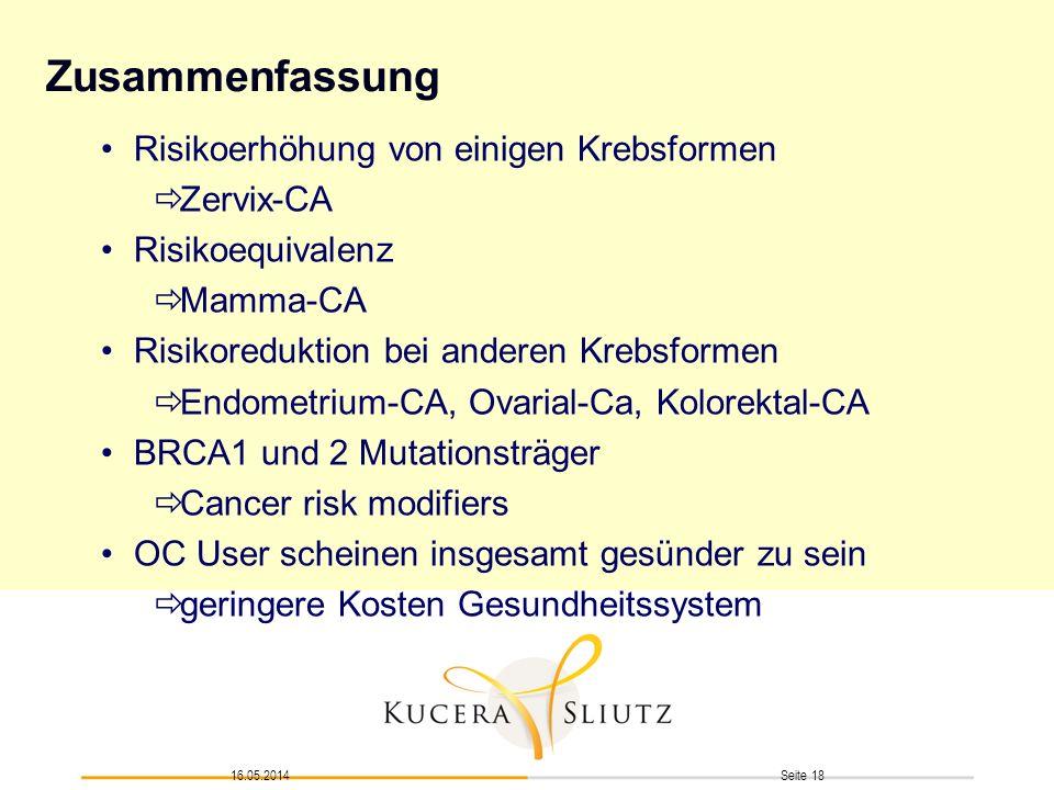 Seite 1816.05.2014 Zusammenfassung Risikoerhöhung von einigen Krebsformen Zervix-CA Risikoequivalenz Mamma-CA Risikoreduktion bei anderen Krebsformen