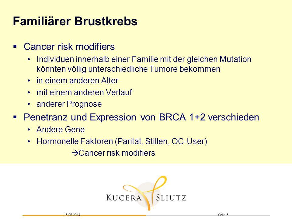 Seite 616.05.2014 Familiärer Brustkrebs Cancer risk modifiers Individuen innerhalb einer Familie mit der gleichen Mutation könnten völlig unterschiedl