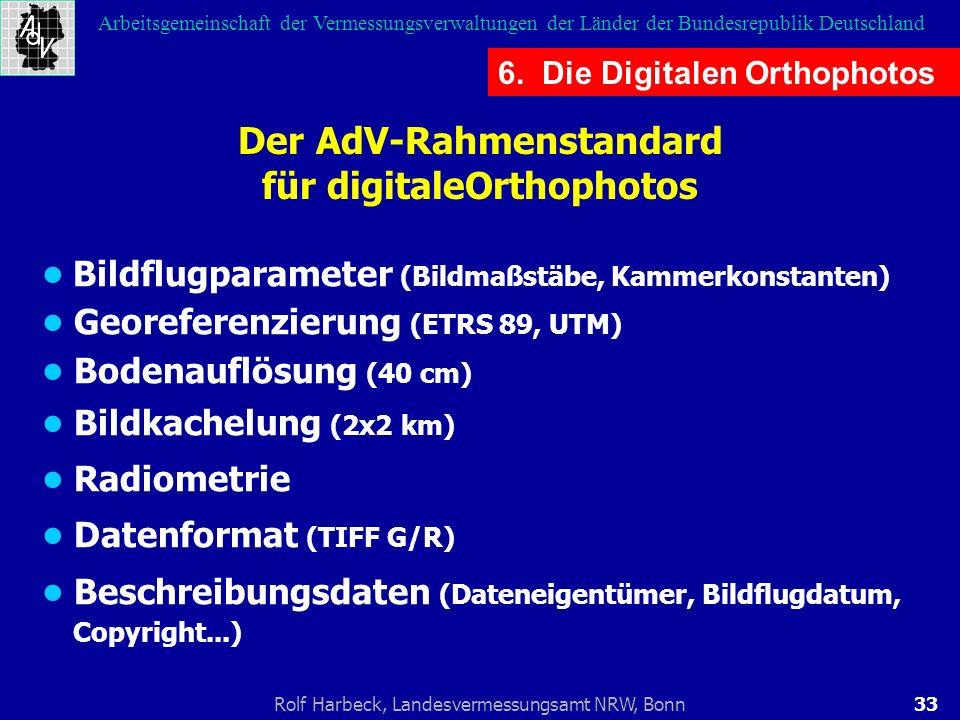 33Rolf Harbeck, Landesvermessungsamt NRW, Bonn Arbeitsgemeinschaft der Vermessungsverwaltungen der Länder der Bundesrepublik Deutschland Der AdV-Rahme