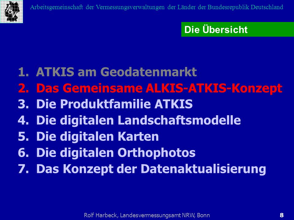 8Rolf Harbeck, Landesvermessungsamt NRW, Bonn Arbeitsgemeinschaft der Vermessungsverwaltungen der Länder der Bundesrepublik Deutschland 1.ATKIS am Geo