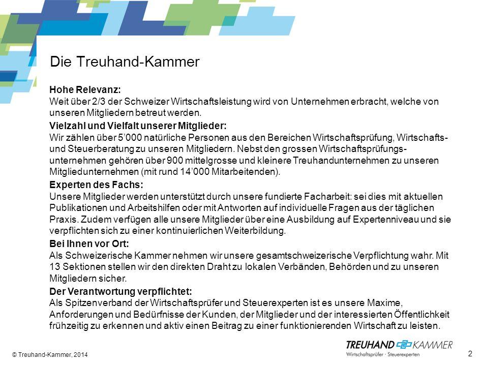 Die Treuhand-Kammer © Treuhand-Kammer, 2014 Hohe Relevanz: Weit über 2/3 der Schweizer Wirtschaftsleistung wird von Unternehmen erbracht, welche von unseren Mitgliedern betreut werden.