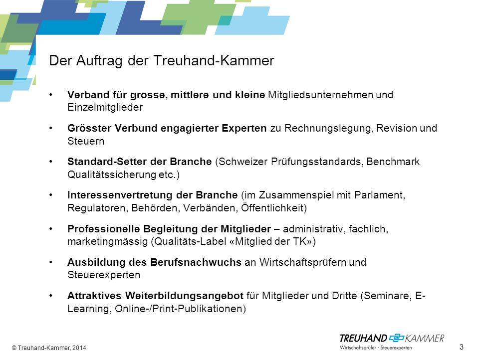 Der Auftrag der Treuhand-Kammer Verband für grosse, mittlere und kleine Mitgliedsunternehmen und Einzelmitglieder Grösster Verbund engagierter Experte