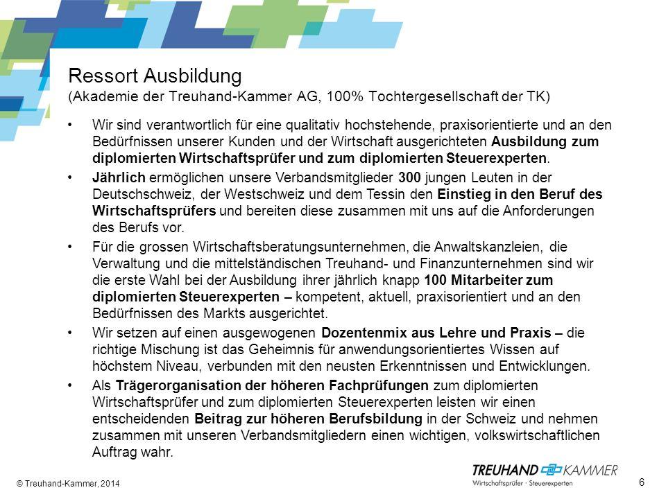 Ressort Ausbildung (Akademie der Treuhand-Kammer AG, 100% Tochtergesellschaft der TK) © Treuhand-Kammer, 2014 Wir sind verantwortlich für eine qualita