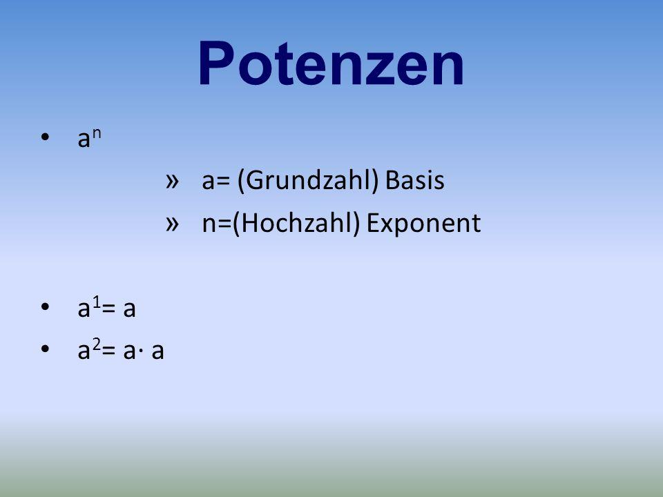 a n » a= (Grundzahl) Basis » n=(Hochzahl) Exponent a 1 = a a 2 = a· a Potenzen
