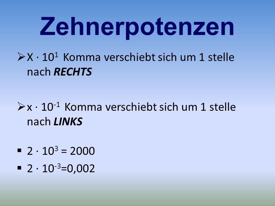 Zehnerpotenzen X · 10 1 Komma verschiebt sich um 1 stelle nach RECHTS x · 10 -1 Komma verschiebt sich um 1 stelle nach LINKS 2 · 10 3 = 2000 2 · 10 -3