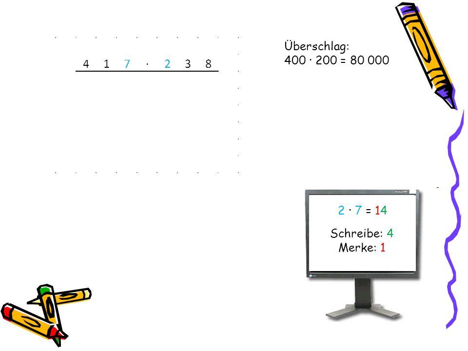 Überschlag: 400 · 200 = 80 000 2 · 7 = 1414 Schreibe: 4 Merke: 1