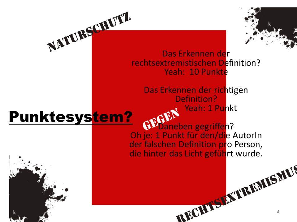 Punktesystem.Das Erkennen der rechtsextremistischen Definition.