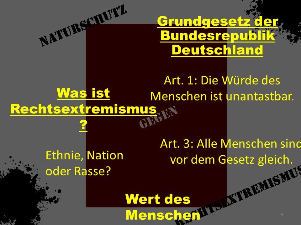 Was ist Rechtsextremismus ? Art. 1: Die Würde des Menschen ist unantastbar. Grundgesetz der Bundesrepublik Deutschland Art. 3: Alle Menschen sind vor