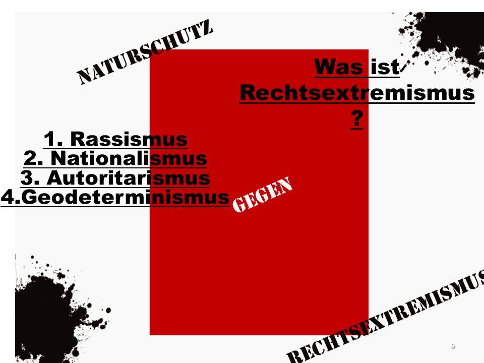 Was ist Rechtsextremismus ? 1. Rassismus 2. Nationalismus 3. Autoritarismus 4.Geodeterminismus 6