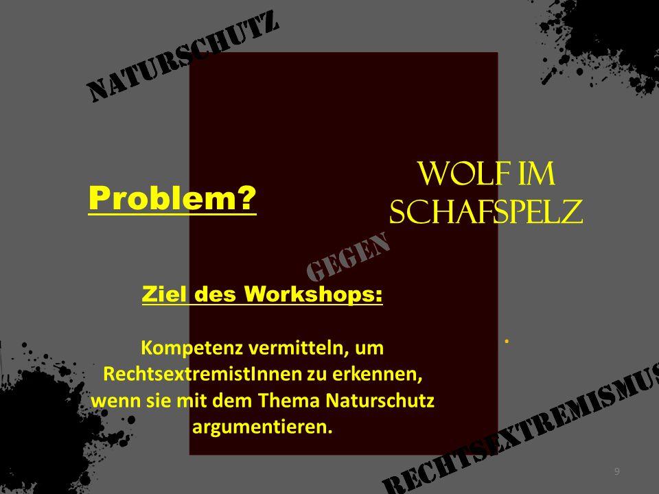 Problem? Wolf im Schafspelz. Ziel des Workshops: Kompetenz vermitteln, um RechtsextremistInnen zu erkennen, wenn sie mit dem Thema Naturschutz argumen