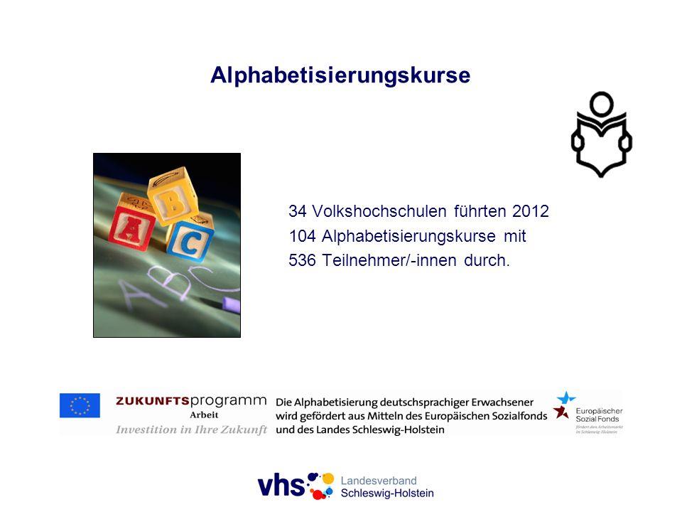 Alphabetisierungskurse 34 Volkshochschulen führten 2012 104 Alphabetisierungskurse mit 536 Teilnehmer/-innen durch.