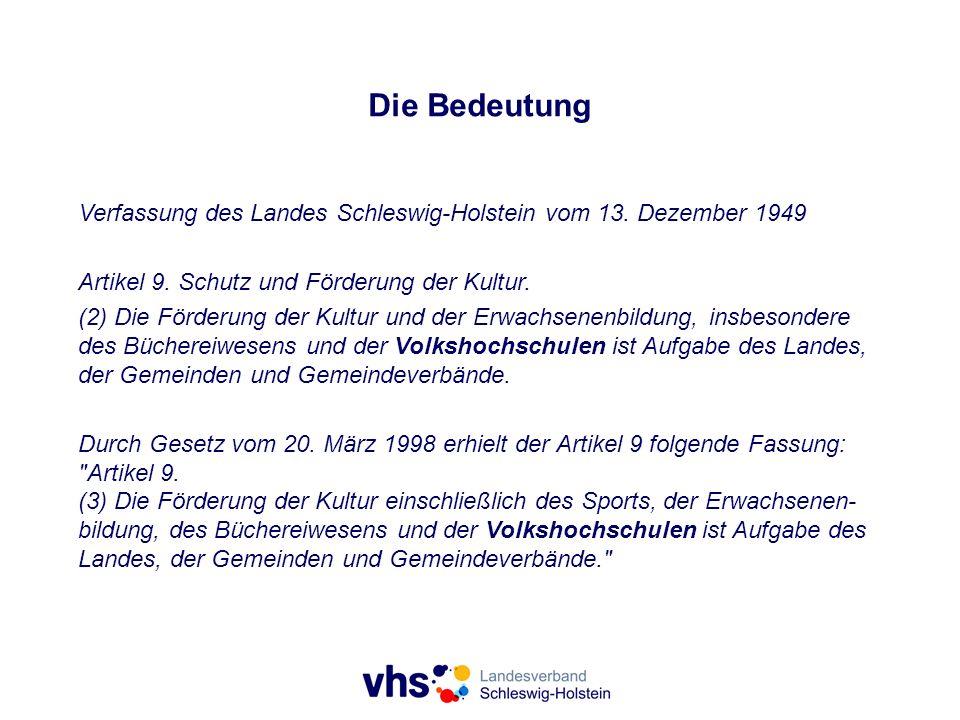 Die Bedeutung Verfassung des Landes Schleswig-Holstein vom 13. Dezember 1949 Artikel 9. Schutz und Förderung der Kultur. (2) Die Förderung der Kultur