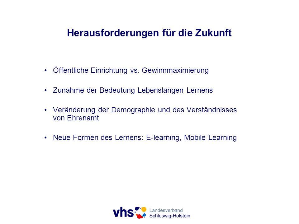 Herausforderungen für die Zukunft Öffentliche Einrichtung vs. Gewinnmaximierung Zunahme der Bedeutung Lebenslangen Lernens Veränderung der Demographie