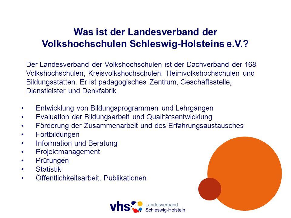 Volkshochschulen in Schleswig-Holstein 146Volkshochschulen, davon 46hauptberuflich geleitet, mit 197hauptberuflich Beschäftigten, 9.279nebenberuflich Kursleitenden, ca.
