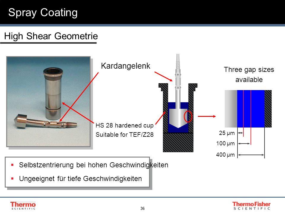 36 Spray Coating High Shear Geometrie Kardangelenk Selbstzentrierung bei hohen Geschwindigkeiten Ungeeignet für tiefe Geschwindigkeiten Three gap size