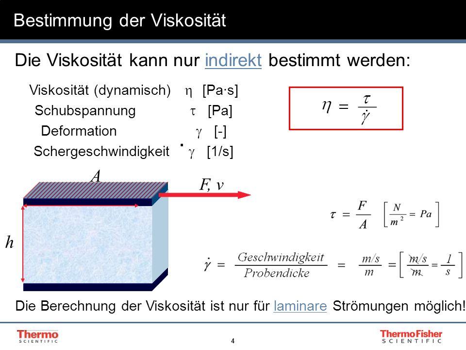 4 Bestimmung der Viskosität A F, v h. Viskosität (dynamisch) [Pas] Schubspannung [Pa] Deformation [-] Schergeschwindigkeit [1/s]. Die Viskosität kann