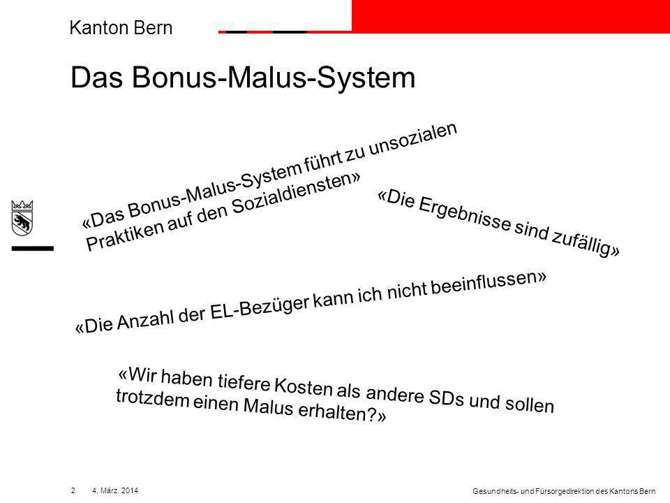 Kanton Bern 134. März 2014 Gesundheits- und Fürsorgedirektion des Kantons Bern
