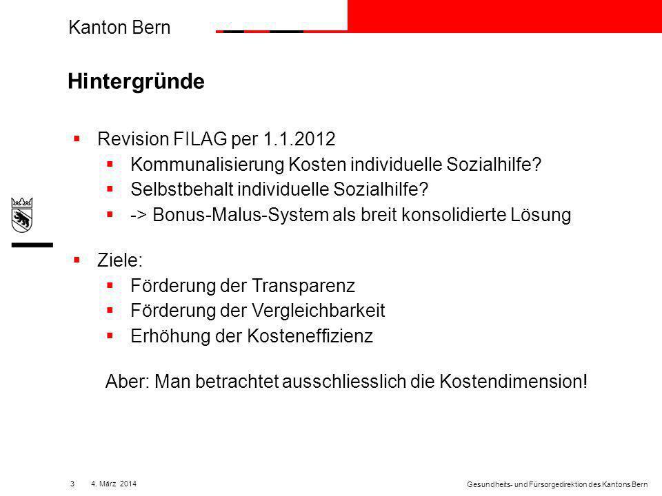 Kanton Bern 144. März 2014 Gesundheits- und Fürsorgedirektion des Kantons Bern